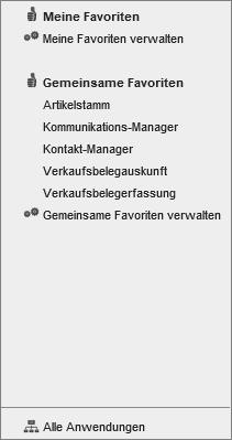 Anwendungsmenü und Favoriten 1