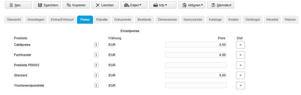 Register Preise 0