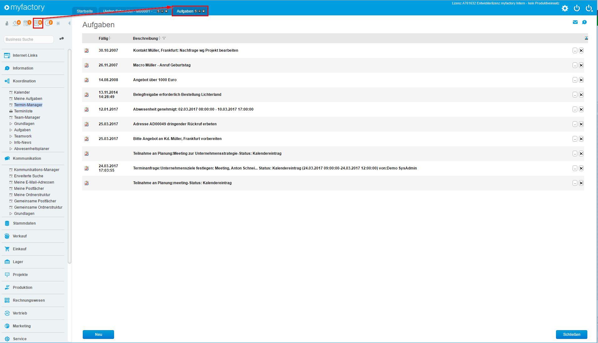 Schnellstartbereich (E-Mail, Aufgaben, Termine, Info-News) 2