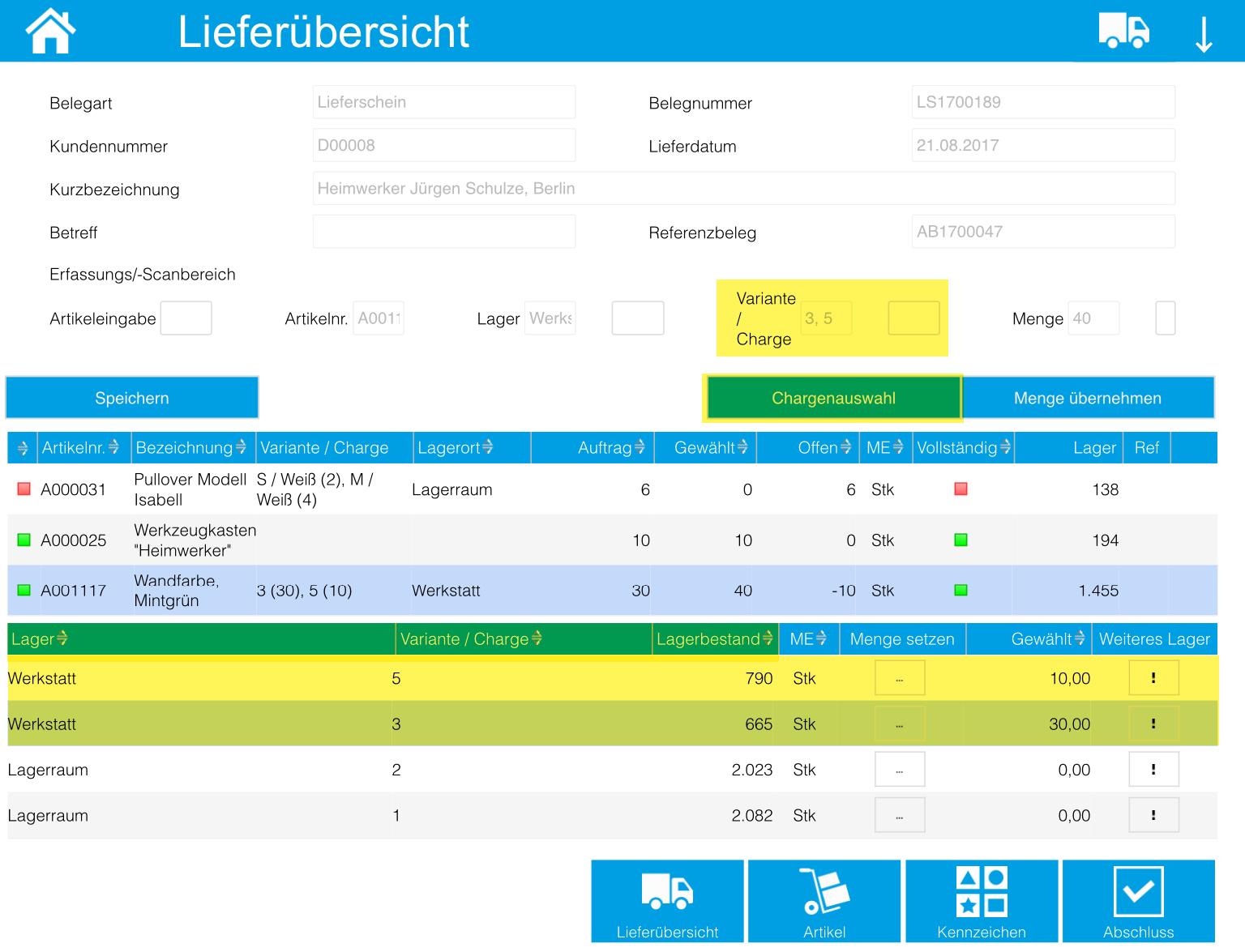 iPad/Tablet: Kommissionierungsaufträge 10