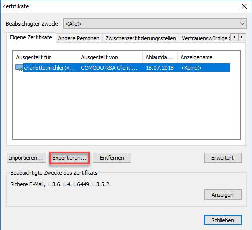 E-Mail-Zertifikat installieren und konfigurieren (mit Internet Explorer und Chrome) 12