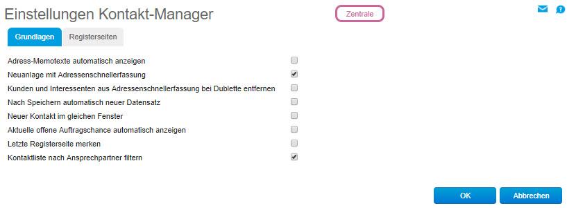 Einstellungen Kontakt-Manager 0