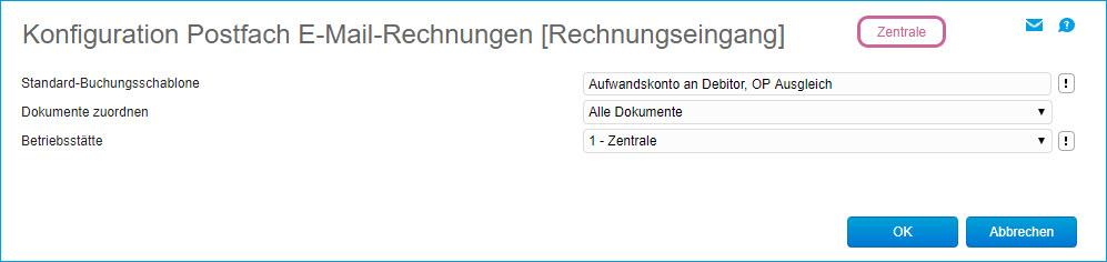 Konfiguration Postfach E-Mail-Rechnungen 0