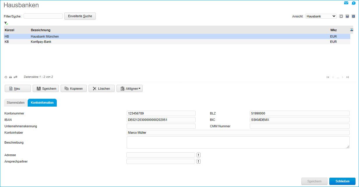 Register Kontoinformation 0