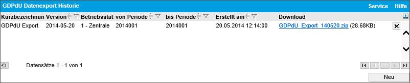 Datenexport Historie 0
