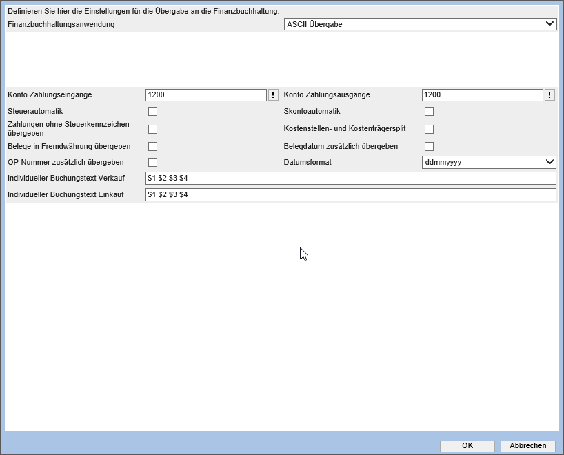 Konfiguration ASCII 0
