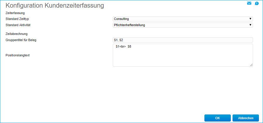 Konfiguration Kundenzeiterfassung 0