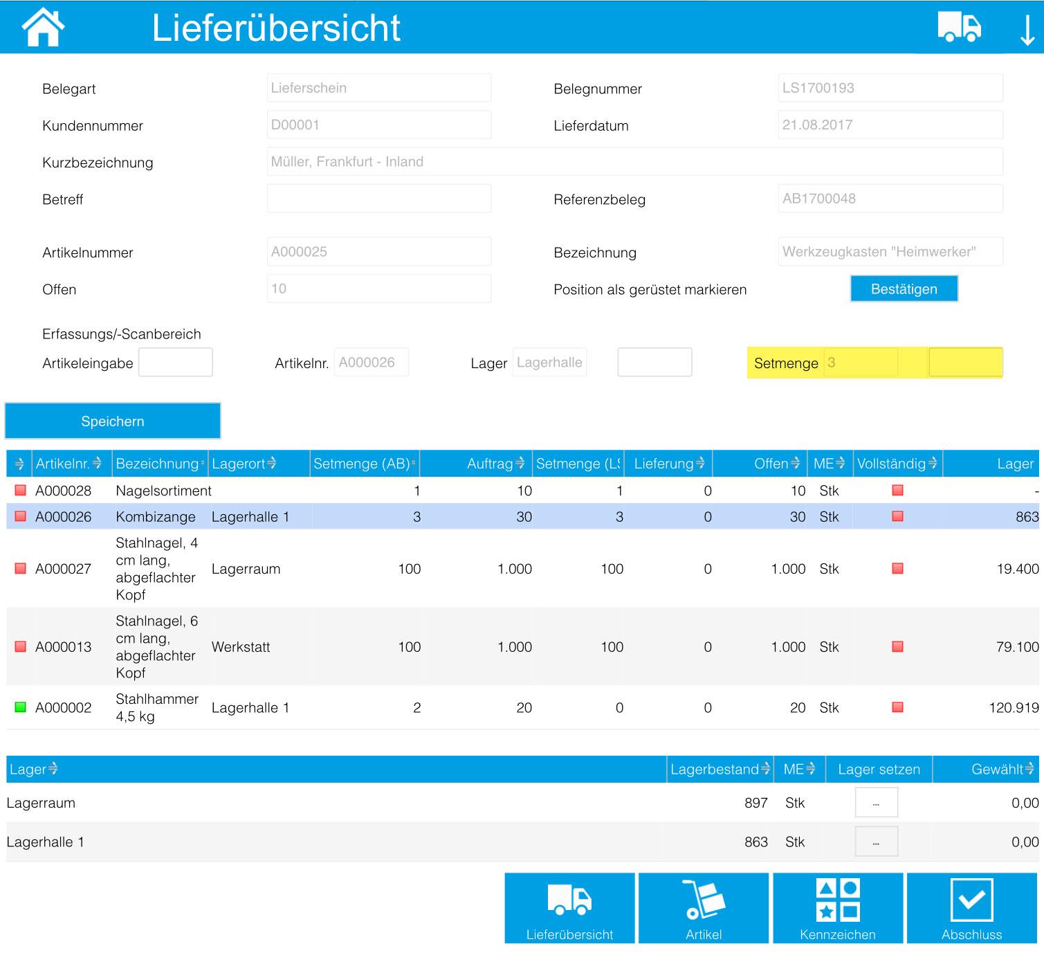 iPad/Tablet: Kommissionierungsaufträge 14