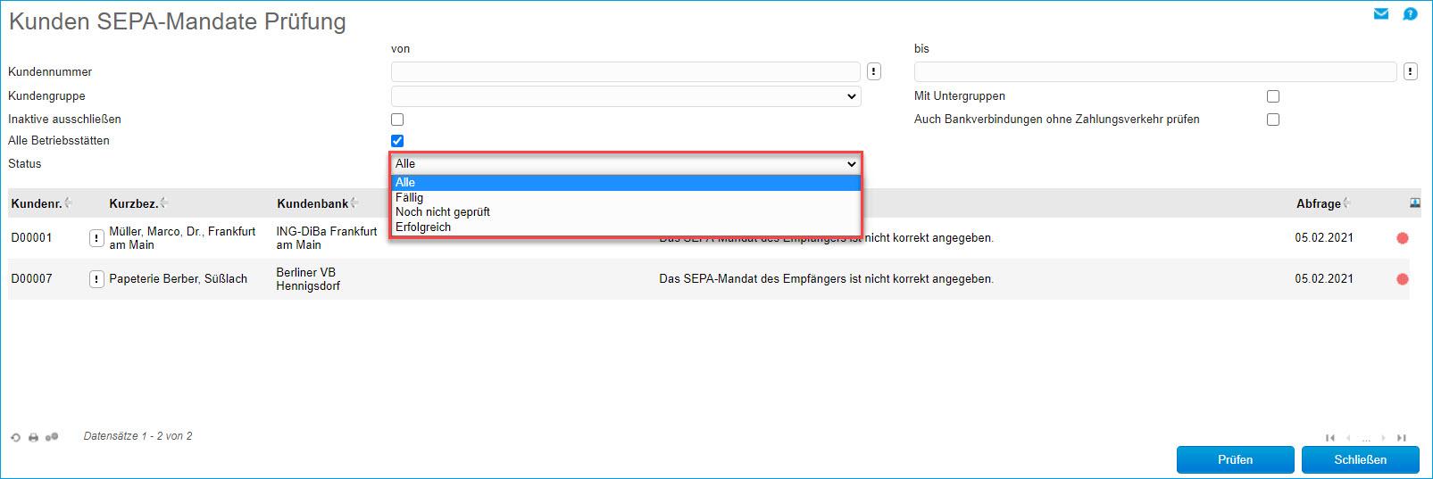 Kunden SEPA-Mandate Prüfung 1