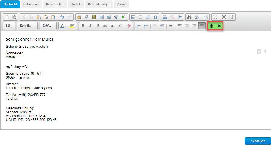 So nutzen Sie die Chrome-Spracheingabe in der myfactory 0