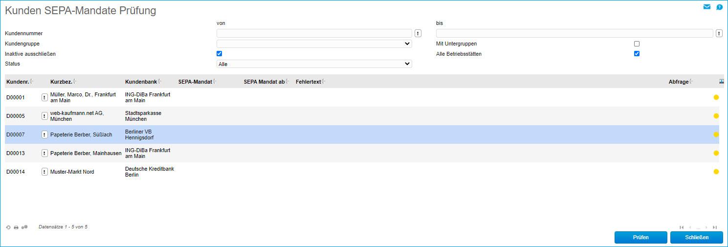 Kunden SEPA-Mandate Prüfung 0