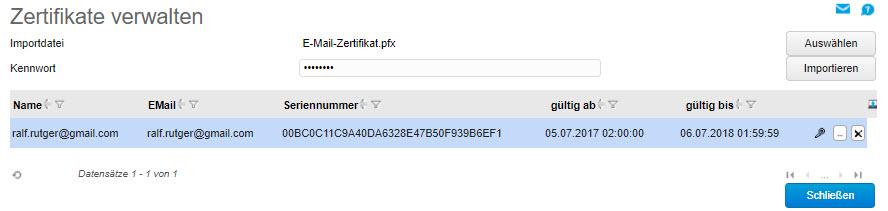 Zertifikate verwalten 0