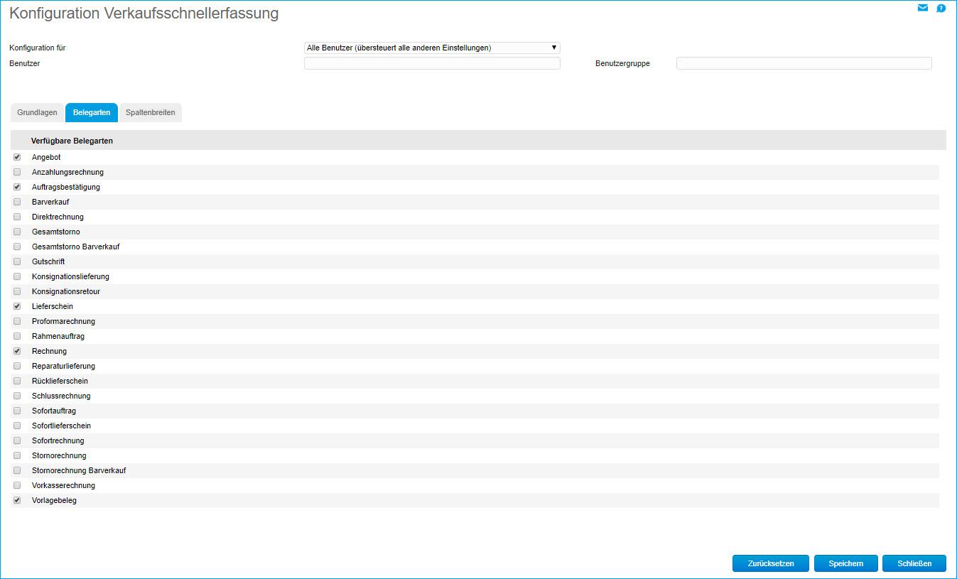 Konfiguration Verkaufsschnellerfassung 4