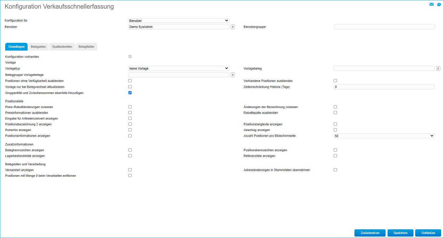 Konfiguration Verkaufsschnellerfassung 0