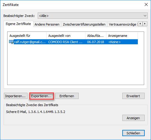 E-Mail-Zertifikat installieren und konfigurieren (mit Internet Explorer und Chrome) 5