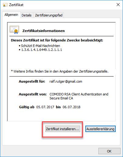 E-Mail-Zertifikat installieren und konfigurieren (mit Internet Explorer und Chrome) 2