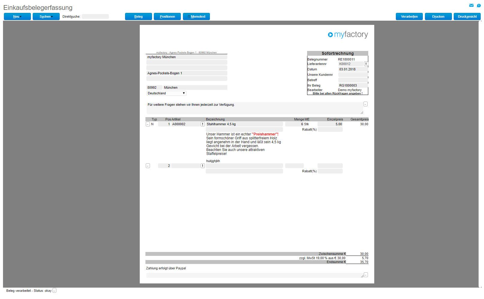 myfactory und ZUGFeRD: Automatisierter Austausch elektronischer Rechnungen 11