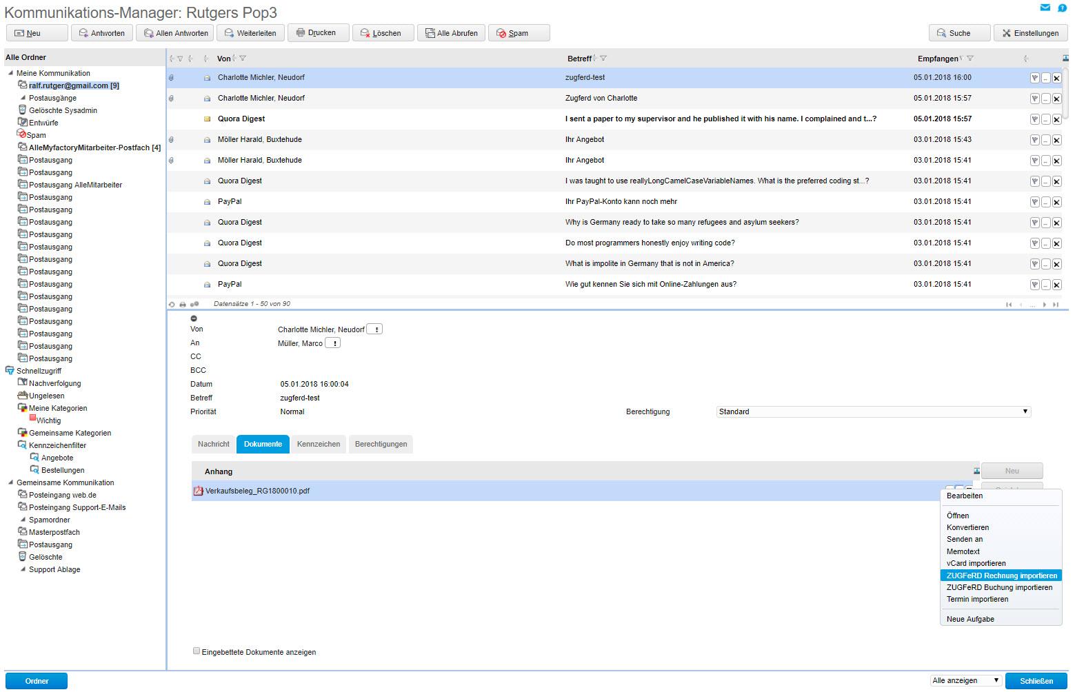 myfactory und ZUGFeRD: Automatisierter Austausch elektronischer Rechnungen 8