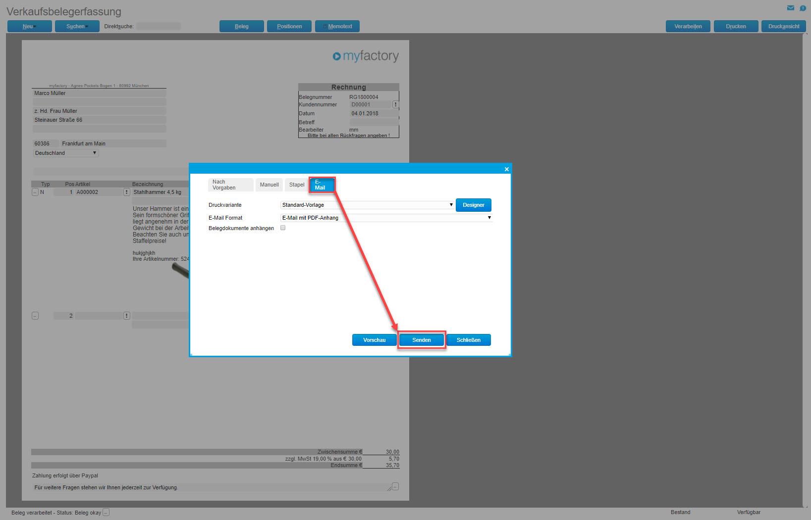 myfactory und ZUGFeRD: Automatisierter Austausch elektronischer Rechnungen 2